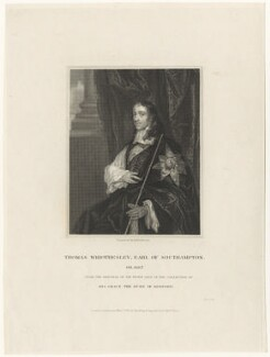 Thomas Wriothesley, 4th Earl of Southampton, by John Henry Robinson, published by  Harding & Lepard, after  Sir Peter Lely, published 1 March 1830 (circa 1661) - NPG D29341 - © National Portrait Gallery, London