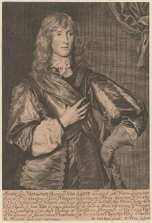 John Belasyse (Bellasis), 1st Baron Belasyse of Worlaby, by Robert White, after  Sir Anthony van Dyck - NPG D29422