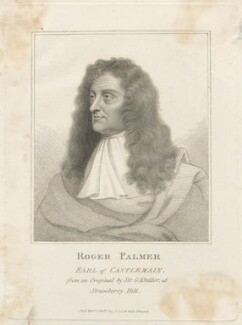 Roger Palmer, Earl of Castlemaine, published by John Scott, after  Sir Godfrey Kneller, Bt - NPG D29452