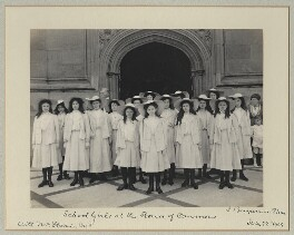 'School Girls at the House of Commons' (including Michael Joseph Flavin), by Benjamin Stone - NPG x33503