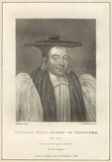 Nicholas Monck, by Robert Dunkarton, after  David Loggan, published by  Samuel Woodburn - NPG D29545