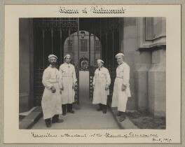 'Furniture attendants of the House of Commons' (four unknown men), by Benjamin Stone - NPG x35178