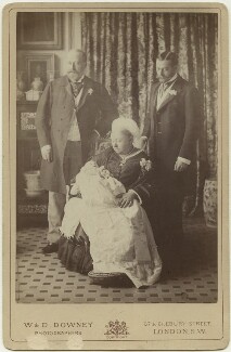'Four Generations' (King Edward VII; Prince Edward, Duke of Windsor (King Edward VIII); Queen Victoria; King George V), by Percy Lewis Pocock, for  W. & D. Downey - NPG Ax5548