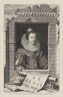 Princess Elizabeth, Queen of Bohemia and Electress Palatine, by George Vertue, after  Gerrit van Honthorst - NPG D32640