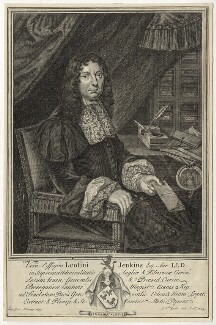 Sir Leoline Jenkins, by Gerard Vandergucht, after  Herbert Tuer - NPG D29803