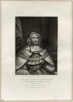 Sir Richard Rainsford, by Robert Dunkarton, published by  Samuel Woodburn - NPG D29877