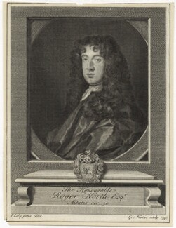 Roger North, by George Vertue, after  Sir Peter Lely - NPG D29886