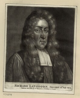 Richard Langhorne, after Unknown artist, published by  William Richardson - NPG D29894