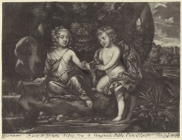 Dorothy Cheeke (née Sidney); Robert Sidney, 4th Earl of Leicester when children, after Sir Peter Lely, published by  Alexander Browne - NPG D29951