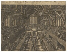 A Prospect of the Inside of Westminster Hall on the day of the Coronation, 23 Apr. 1685 (King James II; Mary of Modena), by Samuel Moore - NPG D32730