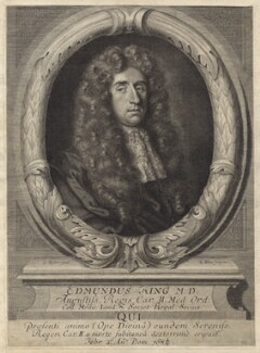 Sir Edmund King, by Robert White, after  Sir Godfrey Kneller, Bt - NPG D30034