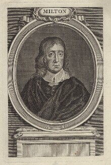John Milton, by George Vertue, after  William Faithorne - NPG D30116