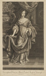 Mary of Modena, by Peter Vanderbank (Vandrebanc), published by  Moses Pitt, after  Sir Peter Lely, published circa 1680-1683 - NPG D32754 - © National Portrait Gallery, London
