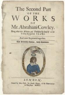 Abraham Cowley, after Unknown artist - NPG D30138