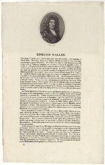 Edmund Waller, by William Holl Sr, or by  William Holl Jr, after  Sir Godfrey Kneller, Bt - NPG D30149
