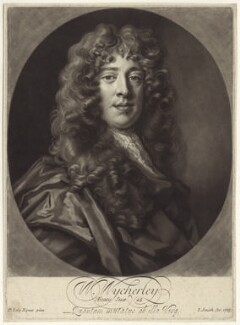 William Wycherley, by John Smith, after  Sir Peter Lely - NPG D30159