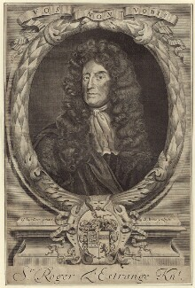 Sir Roger L'Estrange, by Robert White, after  Sir Godfrey Kneller, Bt - NPG D30210