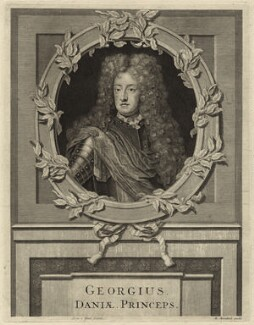 Prince George of Denmark, Duke of Cumberland, by Pieter Stevens van Gunst, published by  Matthys van Marebeck (Marrebech), after  Unknown artist, published 1680s-1690s - NPG D32798 - © National Portrait Gallery, London