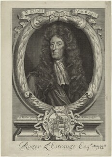 Sir Roger L'Estrange, by Robert White, after  Sir Godfrey Kneller, Bt - NPG D32809