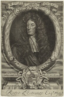 Sir Roger L'Estrange, by Robert White, after  Sir Godfrey Kneller, Bt - NPG D32810