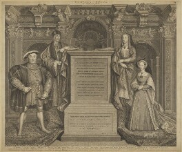 King Henry VIII; King Henry VII; Elizabeth of York; Jane Seymour, by George Vertue, after  Remigius van Leemput, after  Hans Holbein the Younger - NPG D32813