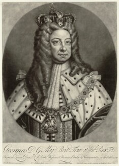 King George I, by Peter Pelham, published by  Edward Cooper, after  Sir Godfrey Kneller, Bt - NPG D32837