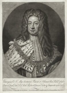 King George I, by John Smith, printed and sold by  Bispham Dickinson, after  Sir Godfrey Kneller, Bt - NPG D32838