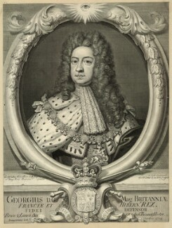 King George I, by George Vertue, after  Sir Godfrey Kneller, Bt - NPG D32839