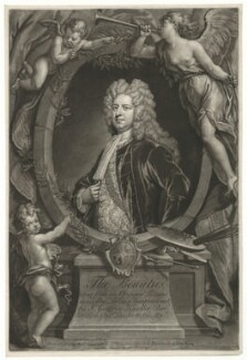 Sir Godfrey Kneller, Bt, by John Faber Jr, printed and sold by  Robert Sayer, printed and sold by  John King, after  John Vanderbank, after  Sir Godfrey Kneller, Bt - NPG D30410