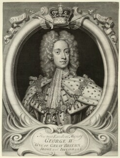 King George II when Prince of Wales, by George Vertue, after  Sir Godfrey Kneller, Bt - NPG D32867