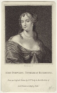 Frances Teresa Stuart, Duchess of Richmond and Lennox, by William Nelson Gardiner, possibly after  Sir Peter Lely - NPG D30486