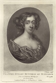 Frances Teresa Stuart, Duchess of Richmond and Lennox, by Charles Turner, possibly after  Sir Peter Lely, published by  Samuel Woodburn - NPG D30487
