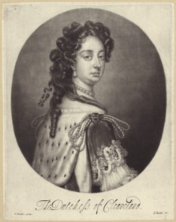 Barbara Palmer (née Villiers), Duchess of Cleveland, by Isaac Beckett, published by  John Smith, after  Sir Godfrey Kneller, Bt, circa 1681-1688 - NPG D30496 - © National Portrait Gallery, London