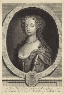 Mary, Duchess of Beaufort, by Joseph Nutting, after  Robert Walker, circa 1690-1722 - NPG D30510 - © National Portrait Gallery, London