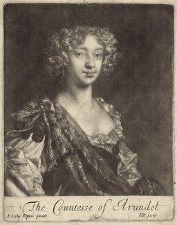 Elizabeth (née Stuart), Countess of Arundel and Surrey, by Robert White, after  Sir Peter Lely - NPG D30517