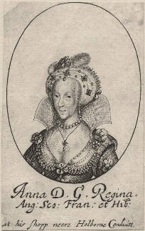 Anne of Denmark, probably by William Faithorne, published by  Sir Robert Peake - NPG D32892