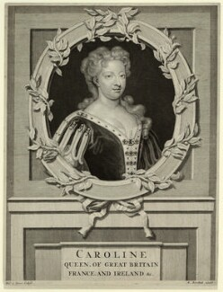 Caroline Wilhelmina of Brandenburg-Ansbach, by M. Marrebeeck, published by  Sir Godfrey Kneller, Bt, after  Pieter Stevens van Gunst - NPG D32893