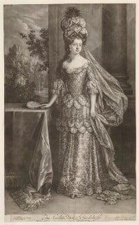 Mary Radcliffe (née Tudor), Countess of Derwentwater, by Bernard Lens (II), after  Jan van der Vaart, after  Willem Wissing, published by  Edward Cooper - NPG D30538