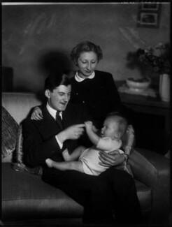 Hon. Anthony Charles Brougham; Sonya Brougham (née Salzman); Christopher Anthony Brougham, by Bassano Ltd - NPG x154259