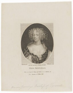 Frances Talbot (née Jenyns (Jennings)), Duchess of Tyrconnel (formerly Lady Hamilton), by Peltro William Tomkins, after  Silvester (Sylvester) Harding, after  Unknown artist - NPG D30592