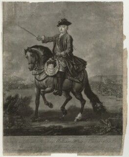 William Augustus, Duke of Cumberland, by and published by John Faber Jr, after  Thomas Hudson, and after  John Wootton - NPG D32910