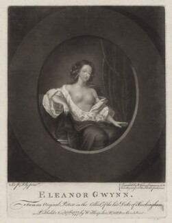 Eleanor ('Nell') Gwyn, by Valentine Green, published by  Walter Shropshire, after  Sir Peter Lely, published 17 November 1777 - NPG D30625 - © National Portrait Gallery, London