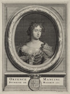 Hortense Mancini, Duchess of Mazarin, by Pieter Stevens (Stephani), published by  Nicolaes Visscher II - NPG D30662