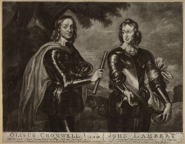 Oliver Cromwell; John Lambert, by Andrew Miller, sold by  Michael Ford, after  Robert Walker - NPG D32974