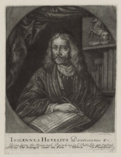 Johannes Hevelius, by John Faber Sr, after  Daniel Schultz the Younger, published by  Thomas Bakewell - NPG D30757