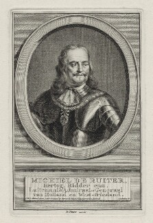 Michiel Adriaenszoon de Ruyter, by Jacobus Houbraken, after  Jan Maurits Quinckhardt - NPG D30762