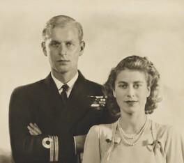Prince Philip, Duke of Edinburgh; Queen Elizabeth II, by Dorothy Wilding, 1947 - NPG x36018 - © William Hustler and Georgina Hustler / National Portrait Gallery, London