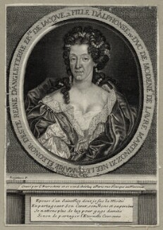 Mary of Modena, by Étienne Jehandier Desrochers, after  Nicolas de Largillière - NPG D30806