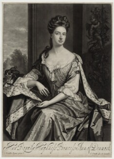 Queen Anne when Princess of Denmark, by and published by John Smith, after  Sir Godfrey Kneller, Bt, 1692 - NPG D30811 - © National Portrait Gallery, London