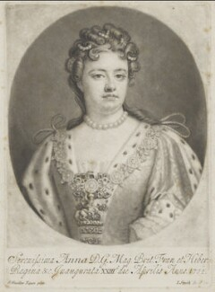 Queen Anne, by John Smith, after  Sir Godfrey Kneller, Bt - NPG D9230